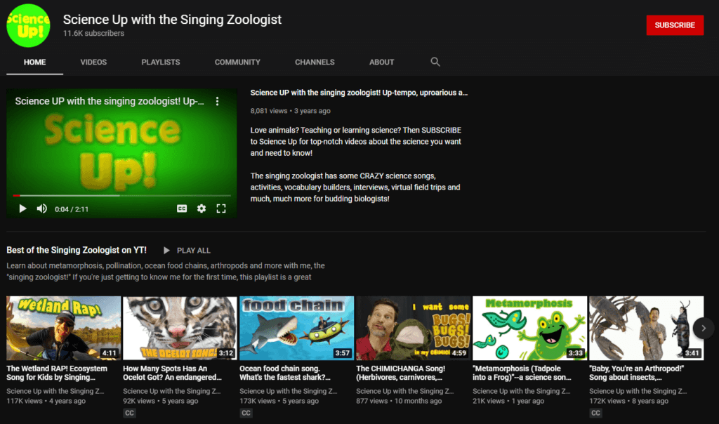 Science Up With Singing Zoologist